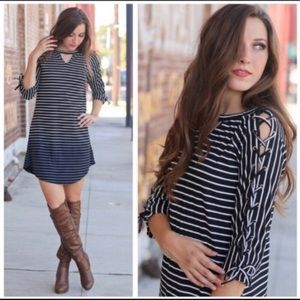Infinity Raine Laced Sleeve Ombré Stripe Dress